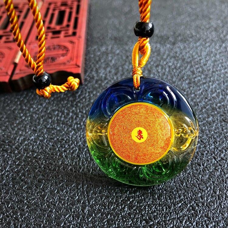 Greco-Buddhist Pocket Travel Efficacious Auspicious Buddhist Amulet Exorcise Evil Spirits Shurangama Mantra Crystal Pendant