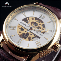 Forsining Mechanical Skeleton Side Carving Design Wrist Watch Business Clock Gold Watch Mens Watches Top Brand