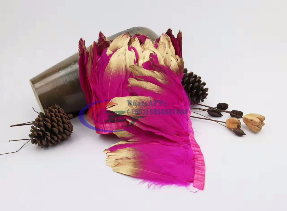New Arrival Gold Tips Fuschia Goose feather trims 10 meters/lot Dyed geese feather ribbons /15-18cm Duck feather fringes