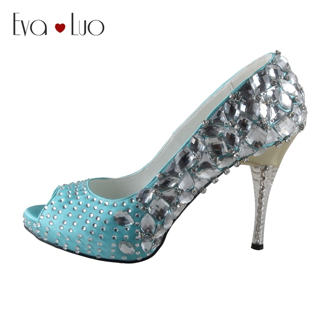 CHS729 Custom Made Sky Blue Aqua Blue Crystal Women Shoes High Heels ...