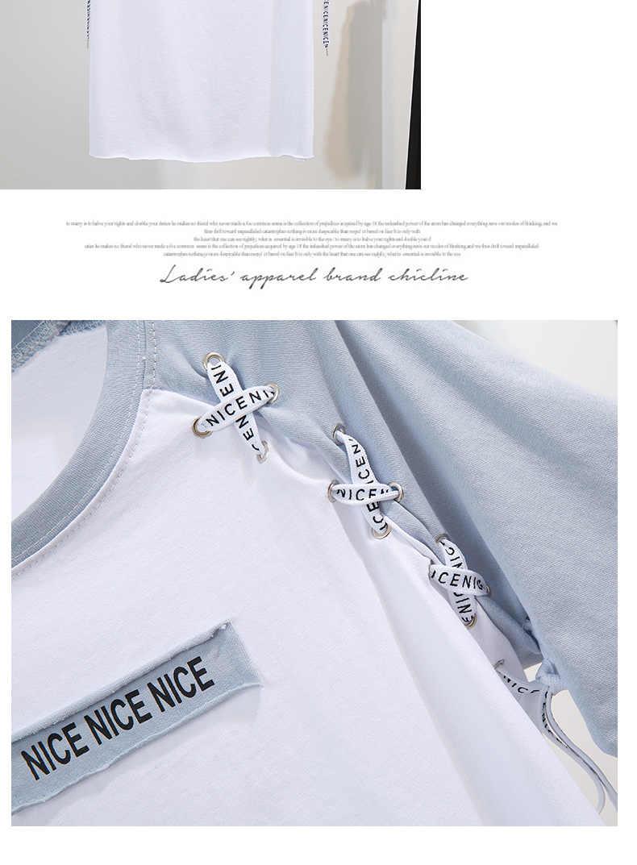 สตรีแฟชั่นพิมพ์ตัวอักษรเสื้อยืดเสื้อ + กางเกงยีนส์ 2 ชิ้นชุด 2019 ฤดูร้อนใหม่ผู้หญิงกว้างขาร้อนกางเกงสูท