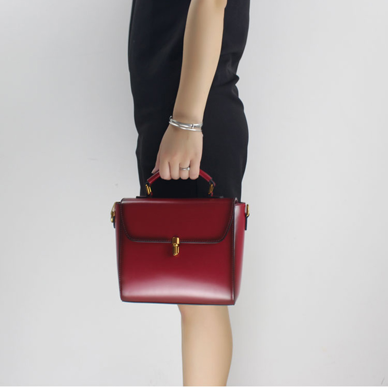 2017 Original Contracted High-grade Women Handbag Leather Bag Wine Red Shoulder Bag Female Messenger Crossbody Bag