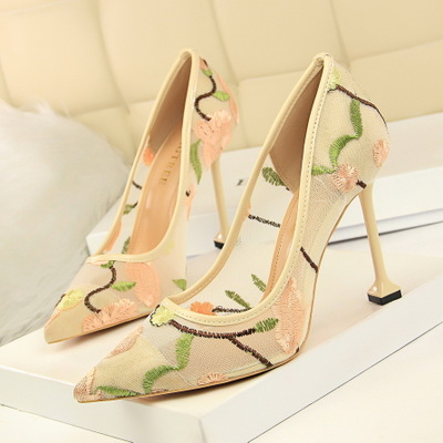 Elegant High Heel Shallow Mouth Pointy Flower Embroidery Mesh Hollow Out Sexy Nightclub Single Shoes