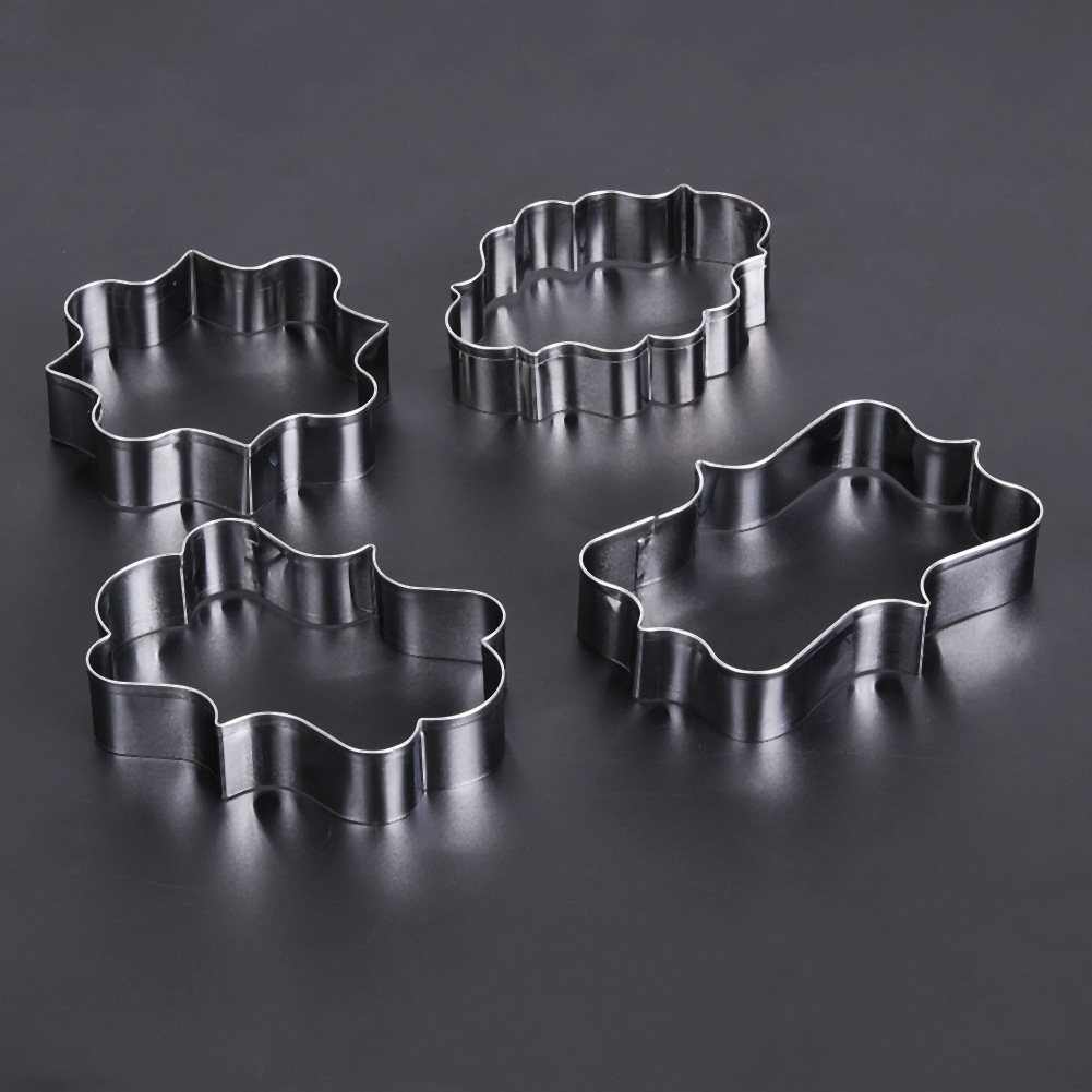 4PCS DIY Cookie Cutter Stainless Steel Fruit Molds Flower Petals Biscuit Mould Fondant Cutting Pastry Cutters