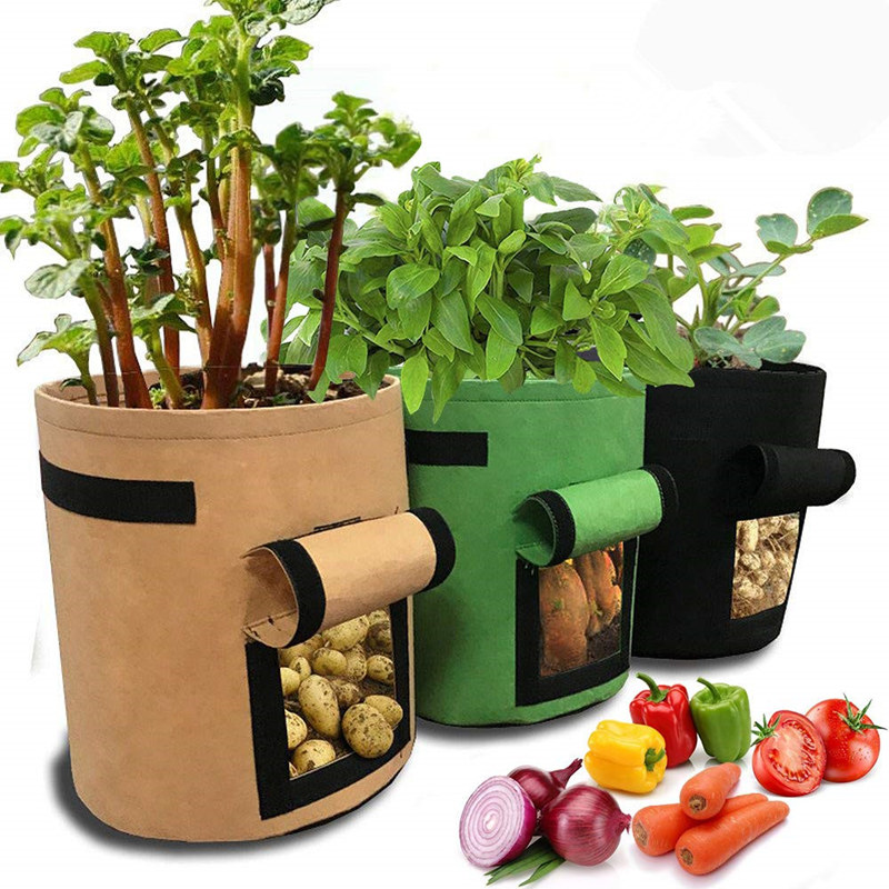 Garden Cylindrical Non-woven Fabric Grow Sack Pocket Balcony Vegetable Planting Bags with Handles