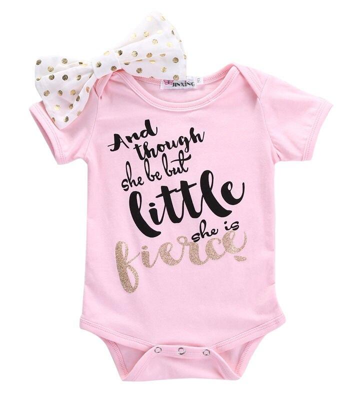 Recién Nacido bebé niño Niñas Ropa traje Rosa flor arco carta Rosa mono ropa de bebé niña
