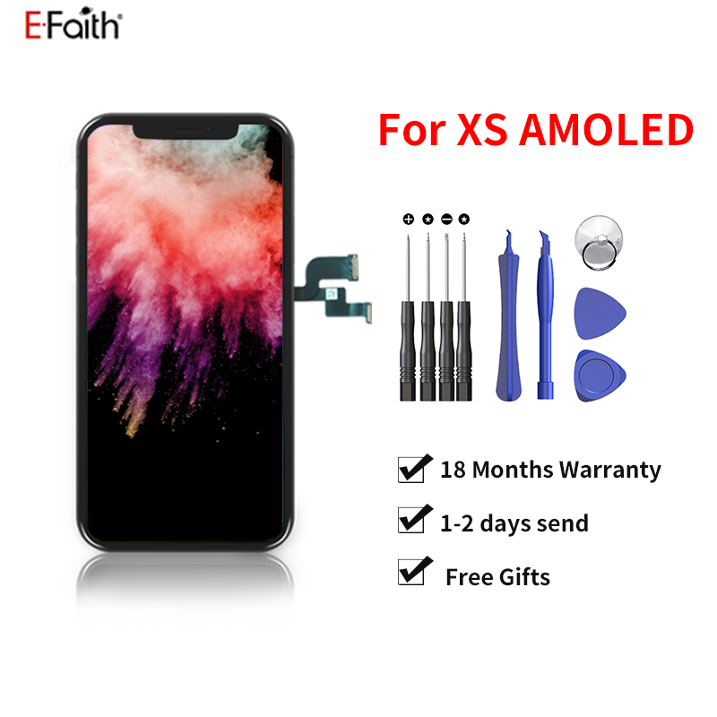EFAITH 10pcs a lot For iPhone XS OLED LCD Display TFT AMOLED Touch Screen With Digitizer