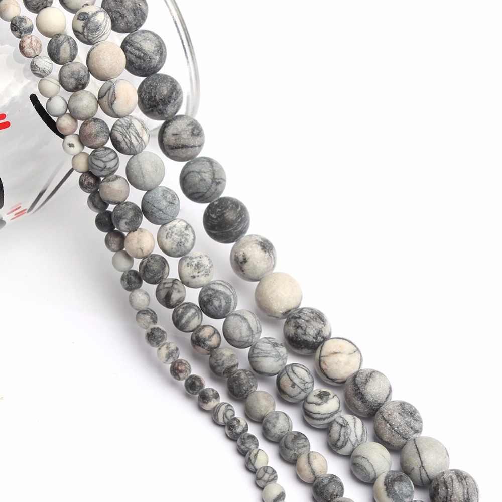 Cuentas de piedra Natural pulido mate araña Web jaspe cuentas redondas para hacer joyas 4/6/8/ pulsera de cuentas de 10mm Diy joyería