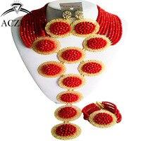 ACZUV מותג סט תכשיטים אפריקאי מכירה חמה לנשים חרוזים כלה ניגרית אדום אטום A10R025