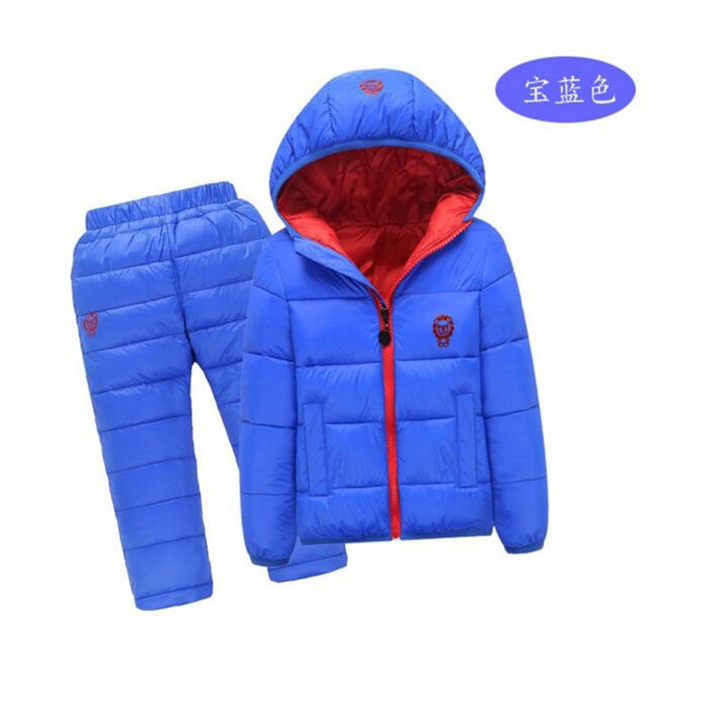 Children Set Boys Girls Clothing Sets Winter Hoodie Down Jacket + Trousers Waterproof Snow Warm kids Jacket Coat Clothes Suit 2017 high quality girls luxury sequin denim jacket pants clothing set kids clothes sets jeans coat trousers two piece set