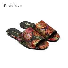 Brand Women Slippers Summer Shoes Flowers Mules Outdoor Women Shoes Flats Heels Slippers Women Fashion Party Female Slippers DE
