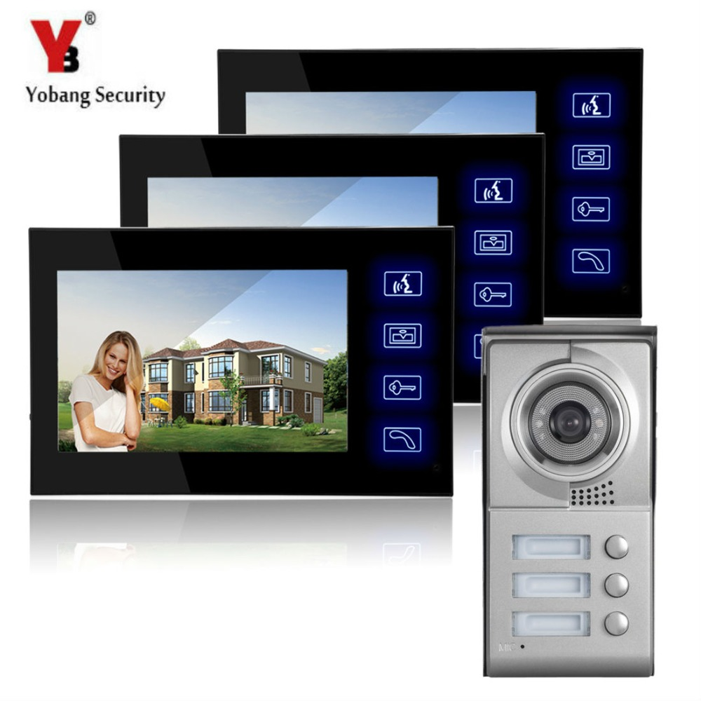 YobangSecurity 7 inch Touch Screen Video Door Phone Doorbell Chimes Security Entry Access Control System for 3 Apartment Familie