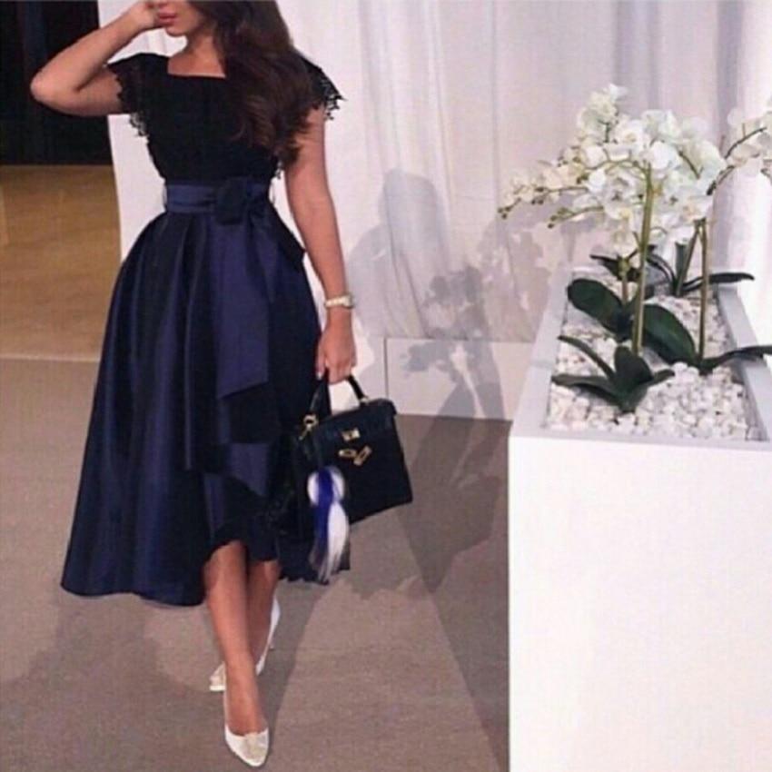 2018 short sleeves tea length robe de soiree prom custom made black and blue party gown vestidos de festa   bridesmaid     dresses