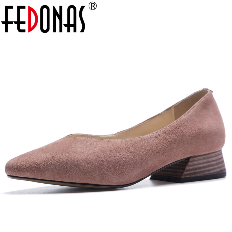 FEDONAS 1Fashion Women Basic Pumps Suede Leather Spring Autumn High Heels Shoes Woman Pointed Toe Concise