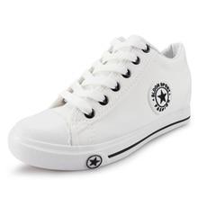 цены на YeddaMavis Casual Shoes 2019 Summer Women Sneakers White Wedges Canvas Shoes star Lace Up Casual Shoes Female Trainers Flats  в интернет-магазинах