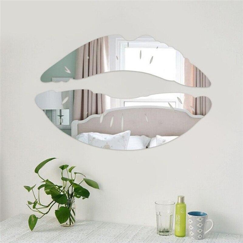 New 3D Lip Shape Mirror Wall Sticker Fashion Creative Home Living Room Art DIY Wall Decor Mirror Surface Wall Stickers 1set