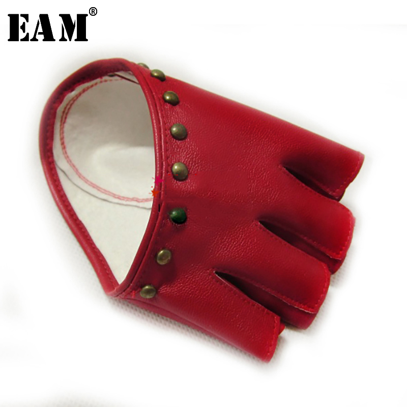 [EAM] 2019 New Autumn Summer Colors Print Personality Hip Pop Sunscreen Fingerless  Fashion Tide Accessories Gloves OA992