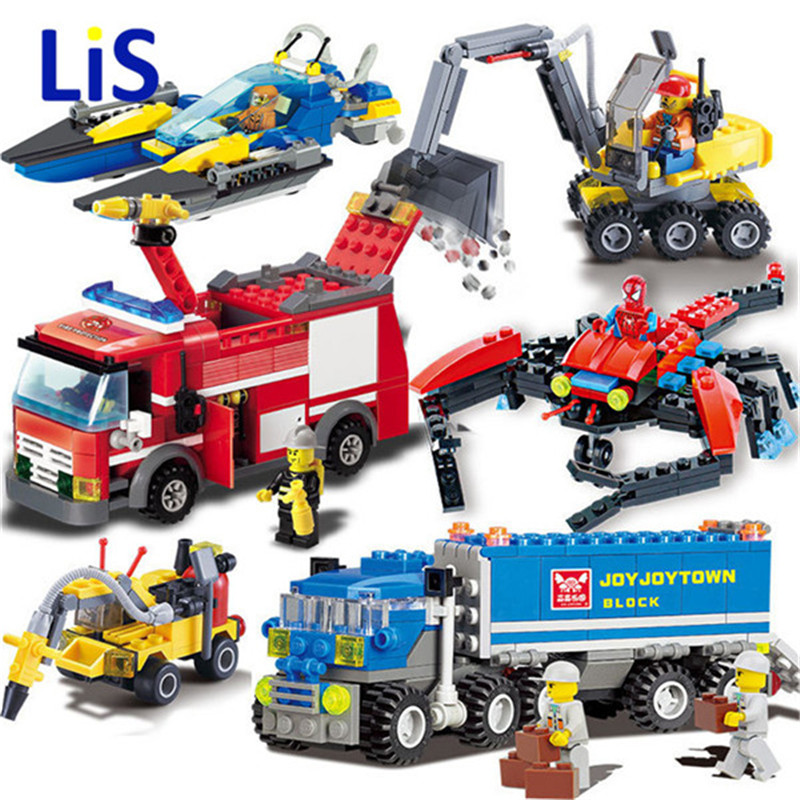 8054 206pcs FireTruck Building Blocks Firefighter Truck Toys Bricks city Educational DIY Bricks toys playmobile brinquedos