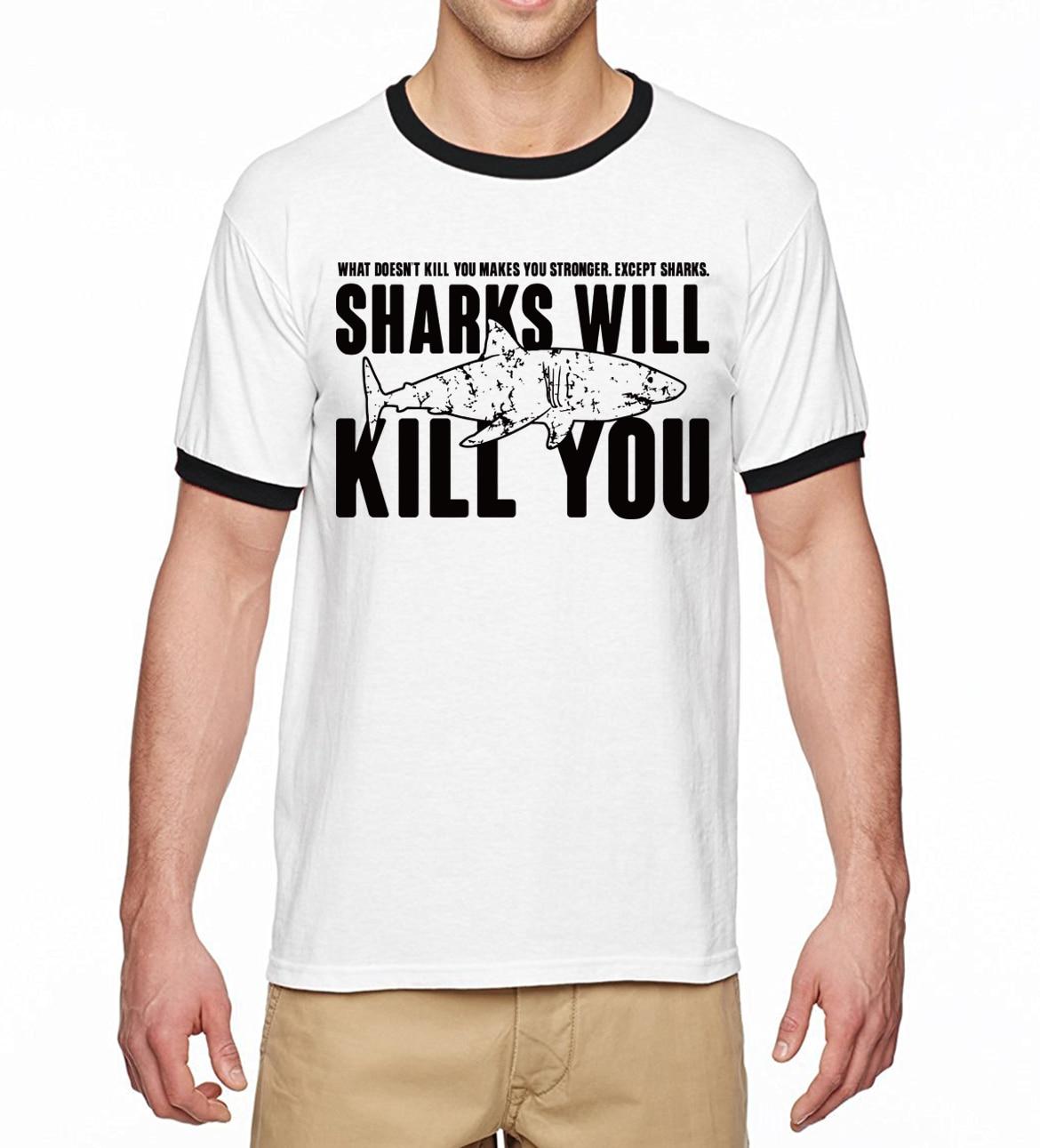 """""""Sharks will kill you"""" Shark T-Shirt for Men 5"""