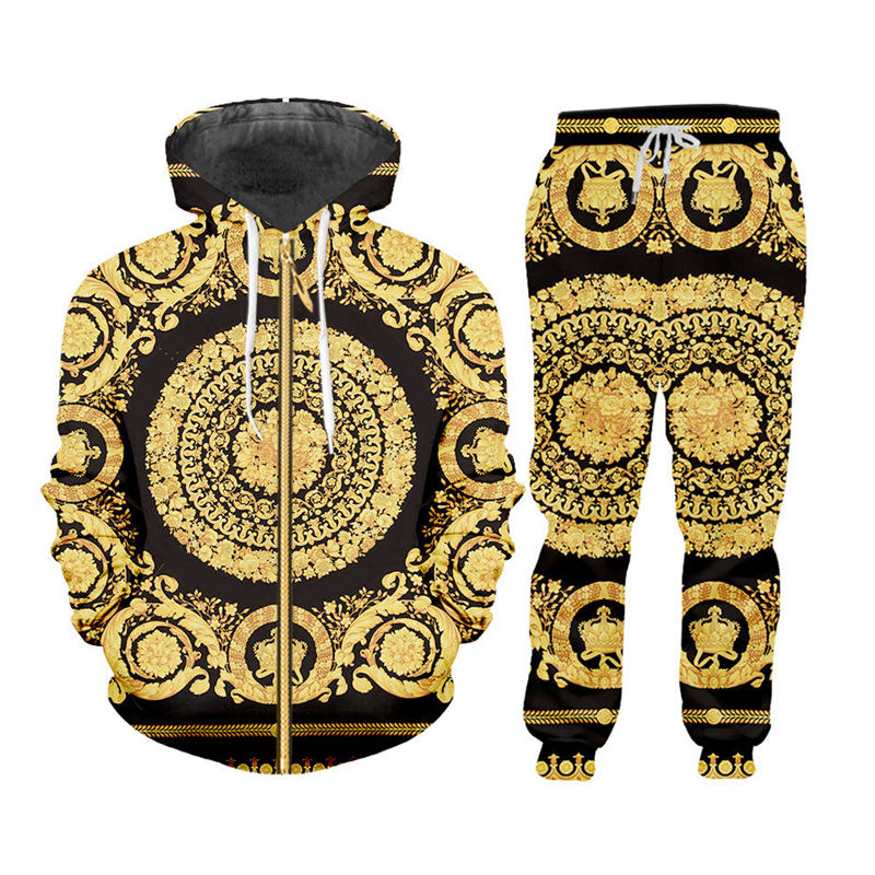Gothic 3d Gold Floral Print Men's Sets Fall Winter Zip Up Hoodies Sweatshirt Sweatpants Jogger Suit Custom Men 2Pcs Tracksuits