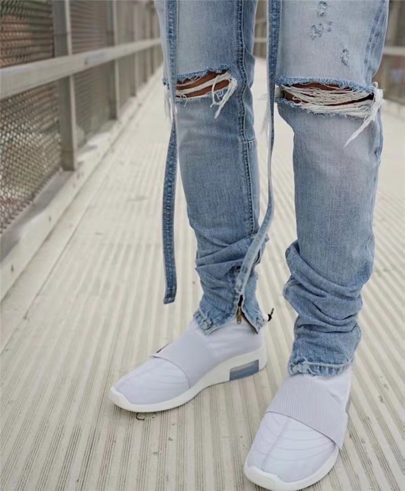 Justin Bieber New Top Distressed Slim Belted Jeans Blue Fog Jeans With Ribbon Men Ankle Zips Knee Holes Biker Streetwear PANTS