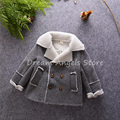 Top quality New Boys Winter Coat Fashion Double Breasted Solid Navy Gray Plush Kids Nizi Coats Jacket Boys Children Outerwear