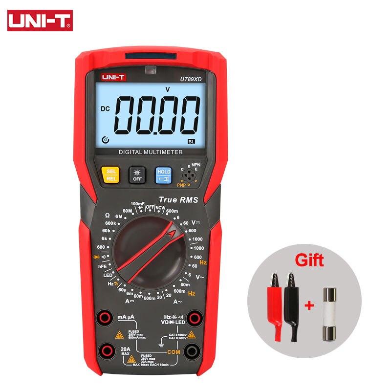 UNI-T ut89xd ut89x verdadeiro rms multímetro digital profissional testador elétrico ncv diodo temperatura triode capacitância medidor