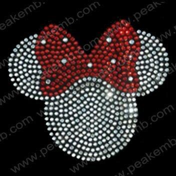 Free Shipping 30pcs/Lot  Custom Design Available Bling Minnie Mouse Hotfix Rhinestone Transfers