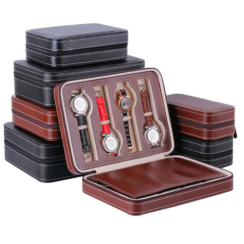 PU Leather Watch Box Storage Showing Watches Display Storage Box Case Tray Zippere Travel Jewelry Watch Collector Case cymii pu leather 10 slot jewelry storage holder wrist watch display box storage holder organizer case watch box gifts