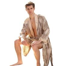 Золотое мужское атласное платье с длинным рукавом, одежда для сна с длинным нежным принтом, ночная рубашка, кимоно, халат, домашний халат, большой размер 3XL 4XL 5XL