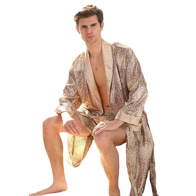 Gold Men Satin Robe Full Sleeve Sleepwear Long Gentle Print Nightwear Kimono Bathrobe Home Dressing Gown Oversize 3XL 4XL 5XL