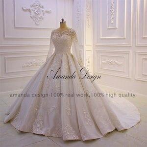 Image 2 - Amanda Design lazo para vestido de novia apliques perlas vestido de novia con manga larga