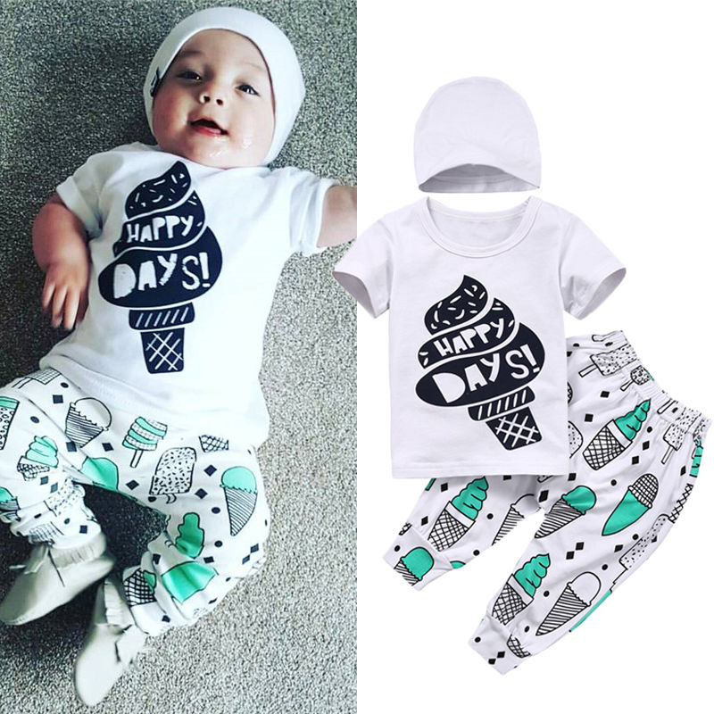 Baby Girl Boy Clothes Set Newborn Baby Boys Girls Happy Days Ice-cream T-shirt Pants Hat Outfits Children Clothing 0-24M 3pcs 2pcs set baby clothes set boy