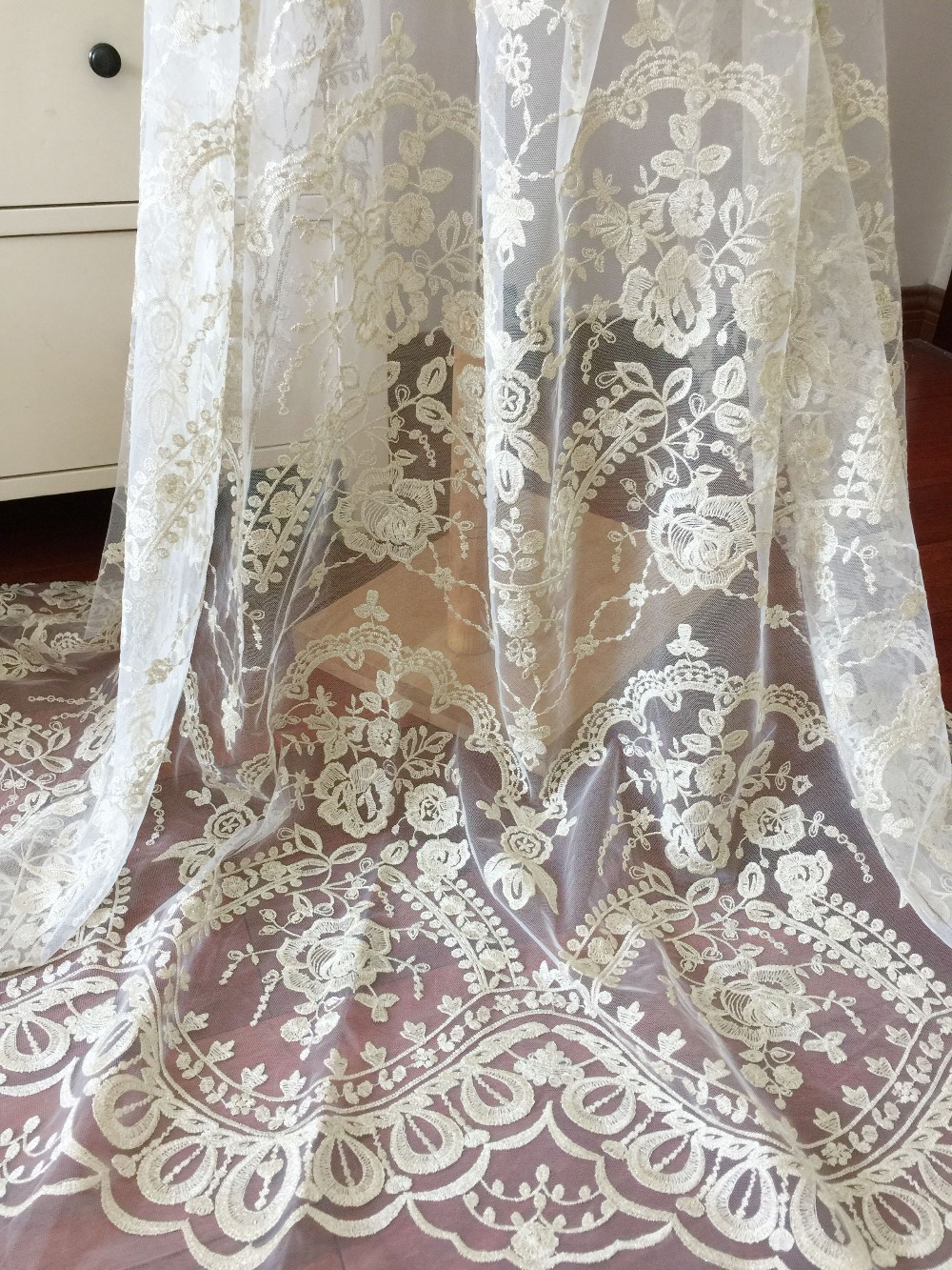 1 Yard Vintage style gold thread embroidery tulle lace fabric for coustumes design couture dress women lace 140cm wide in Fabric from Home Garden