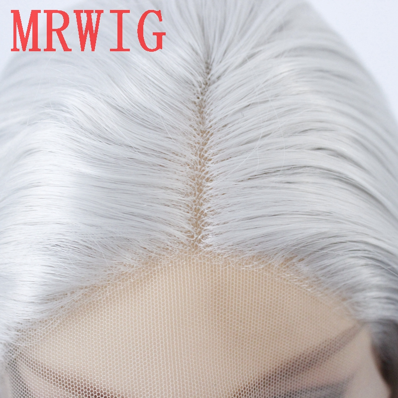 Image 5 - MRWIG silver gray short bob straight glueless front lace wig middle part 12in 150%density grey hair color wig-in Synthetic None-Lace  Wigs from Hair Extensions & Wigs