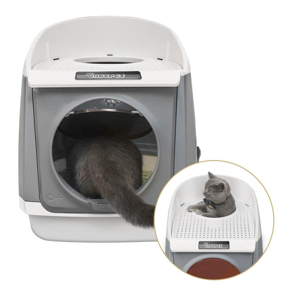 Dadypet gato caixa de areia tampa gatos toalete à prova de respingo totalmente fechado pet caixa de areia suprimentos de gato com grande colher de areia ergonómica 2