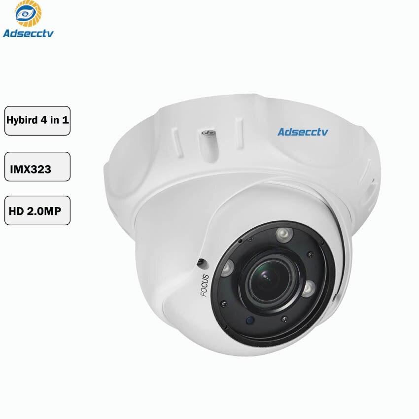 1080P SONY IMX323 COMS jeu de puces hybride 4 en 1 dôme caméra Vari focal 2.8-12mm objectif OSD commutateur gratuit CCTV caméra AR-MHD2304R4