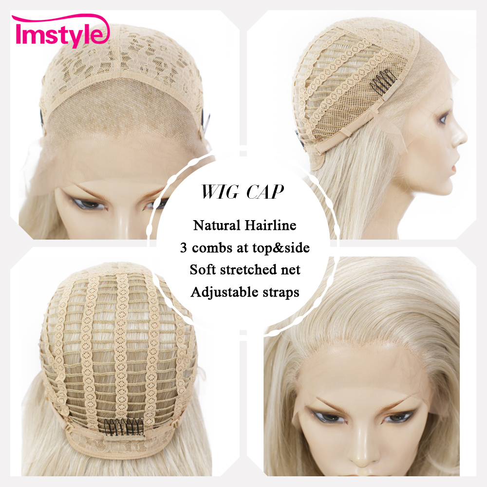 Imstyle Ash Blonde Lace Front Wig Synthetic Hair Long Wavy Wigs For Women Glueless High Temperature Fiber Natural Hair Wigs