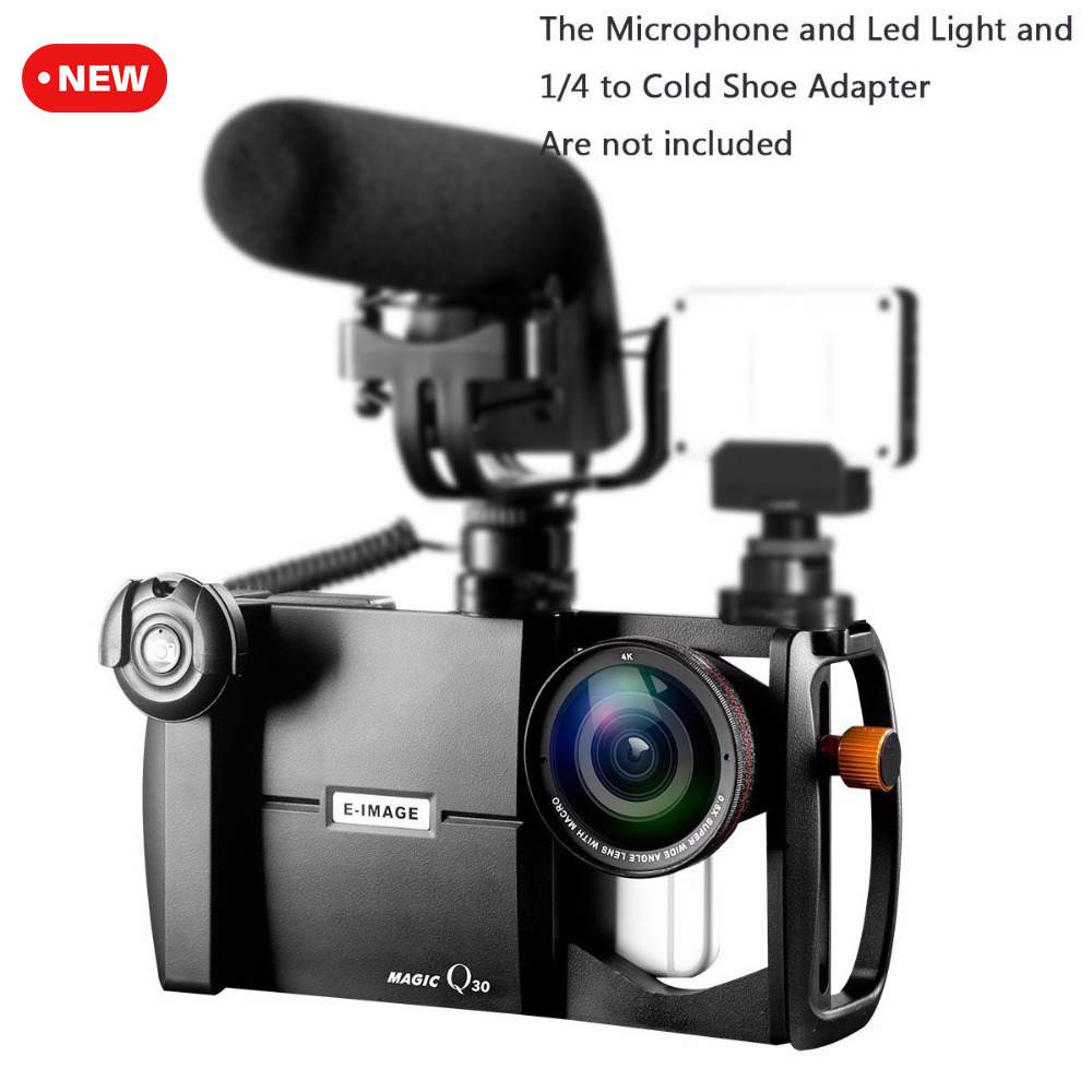 Ulanzi E-image Magic Q30 Smartphone Video Cage Kit Stabilizer Case W Wide Angle/Marco Lens For Videomaker Filmaking For IPhone 7