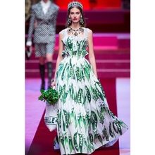 See Orange Cute Peasecod Print Summer Dress Women 2018 T Show Spring Green Dress Long Dress SO5151