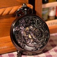 20 stks/partij Zwart Doule Dragon Uitgeholde Romeinse Wijzerplaat Mechanisch Zakhorloge Skeleton heren Horloges Gift Horloge Groothandel