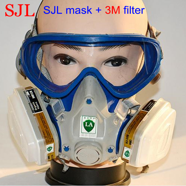Paint spray respirator gas mask silicone full face respirator pesticides carbon filter mask Free Shipping yihu gas mask blue two pot efficient respirator gas mask paint spray pesticides industrial safety protective mask