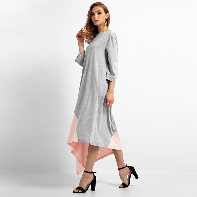 2019 new Women's long dress O-neck solid color stitching loose large size Islamic Muslim Middle Eastern long dress 4.12 2