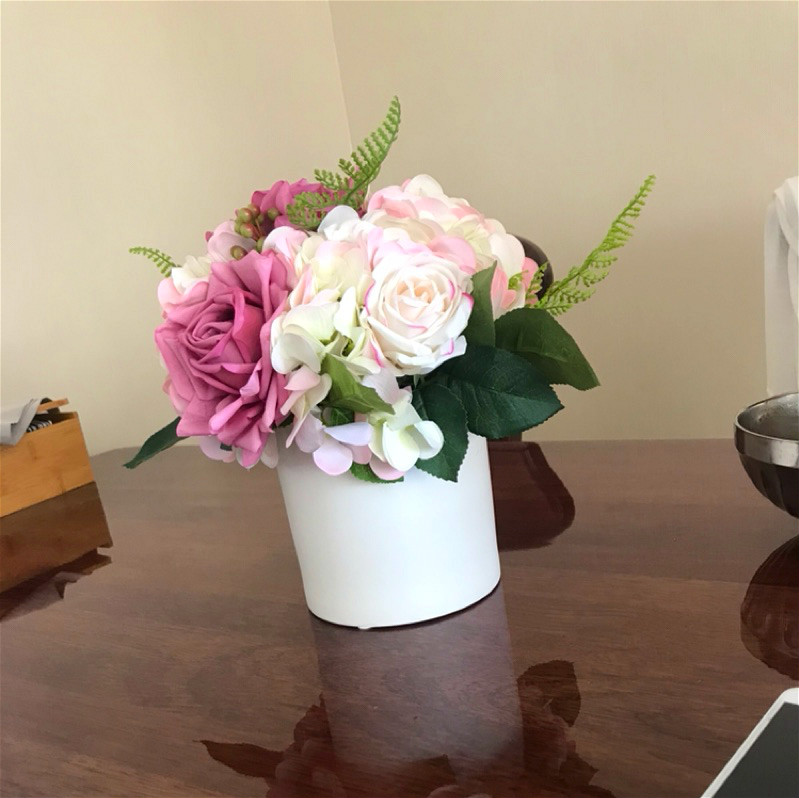 Real Touch Fuschia Roses Pink Hydrangeas Potted Flower Arrangement For Home Wedding Decoration In Artificial Dried Flowers From Garden On