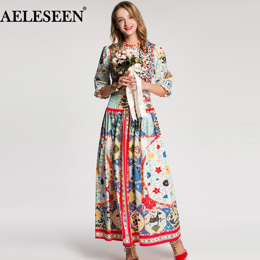 AELESEEN Luxury Print Ethnic Women Dresses 2018 Autumn Fashion Half Sleeve Multicolor New Arrival Mid Calf