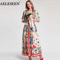 AELESEEN Luxury Print Ethnic Women Dresses 2018 Autumn Fashion Half Sleeve Multicolor New Arrival Mid-Calf Elegant Long Dress