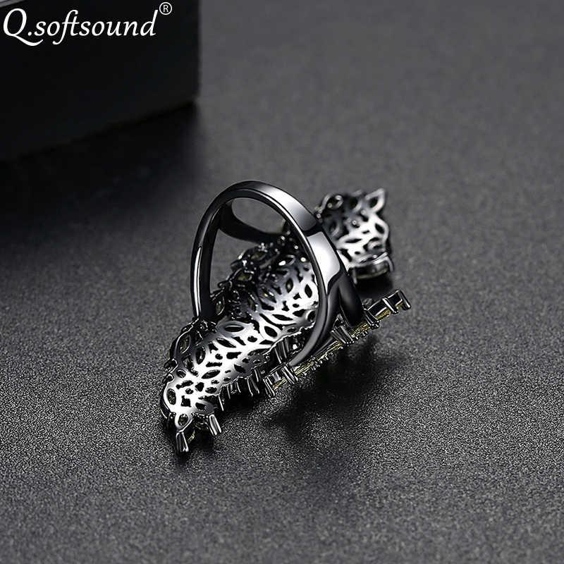 Qsoftsound Marquise CUT Zircon Pave เปิดแหวนผู้หญิงสีดำทอง CZ เครื่องประดับคริสตัลค็อกเทลแหวน anillos QR012