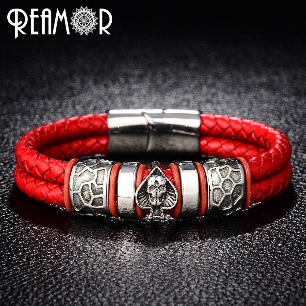 REAMOR Double Braided Leather 316l Stainless Steel Charm Male Bracelets Spades Skull Head Bangle Punk Wristband Men's Jewelry|men jewelry|male braceletwristband men - AliExpress