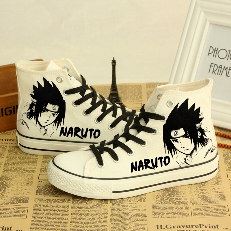 ФОТО Unisex Mens Anime Shoes Naruto Canvas Shoes Ankle Shoes New 2017 Cartoon Characters Printed Lace Up Casual Shoes Free Shipping