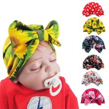 Hot Sell Baby Hat Children Kids Bow-knot Printed Hedging Cap Newborn Girls Boys Dome Hats baby Accessories dripshipping